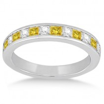 Channel Set Princess White & Yellow Diamond Wedding Band Palladium 0.60ct