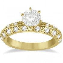 Designer Diamond Engagement Ring Setting 14k Yellow Gold (0.70ct)