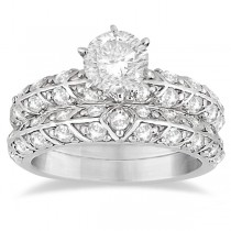 Designer Diamond Bridal Set Ring and Band Palladium (1.43ct)