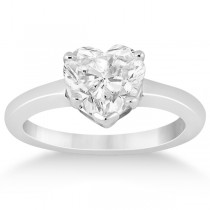 Heart Shaped Solitaire Diamond Engagement Ring Setting 18k White Gold