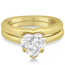 Heart Shaped Engagement Ring & Wedding Band Bridal Set 14k Yellow Gold