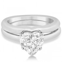 Heart Shaped Engagement Ring & Wedding Band Bridal Set 18k White Gold
