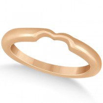Matching Notched Wedding Band to Heart Shaped Ring in 18k Rose Gold