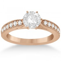 Cathedral Antique Style Engagement Ring 14k Rose Gold (0.28ct)