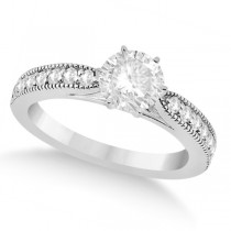 Cathedral Antique Style Engagement Ring 18k White Gold (0.28ct)