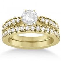 Cathedral Diamond Accented Vintage Bridal Set 14k Y. Gold (0.62ct)