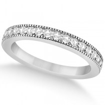 Pave Set Diamond Wedding Band Milgrain Edged 14k White Gold (0.34ct)