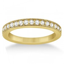 Pave Set Diamond Wedding Band Milgrain Edged in 14k Yellow Gold (0.34ct)