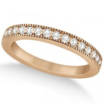 Pave Set Diamond Wedding Band Milgrain Edged in 18k Rose Gold (0.34ct)