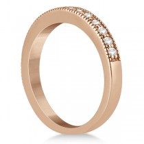 Pave Set Diamond Wedding Band Milgrain Edged in 18k Rose Gold (0.34ct)