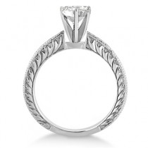Antique Engraved Solitaire Engagement Ring Setting 14k White Gold