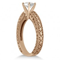 Antique Engraved Solitaire Engagement Ring Setting 18k Rose Gold