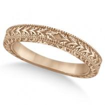 Solitaire Engagement Ring & Wedding Band Bridal Set 18k Rose Gold