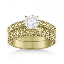 Solitaire Engagement Ring & Wedding Band Bridal Set 18k Yellow Gold