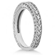 Antique Engraved Wedding Band w/ Filigree & Milgrain 18k White Gold