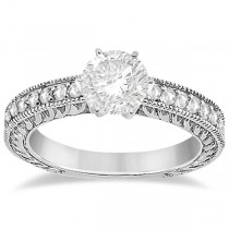 Vintage Style Diamond Filigree Engagement Ring 18k White Gold (0.16ct)