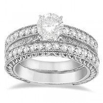 Vintage Filigree Diamond Engagement Bridal Set 18k White Gold (0.35ct)