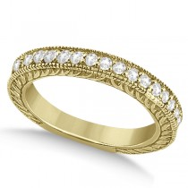 Vintage Style Filigree Diamond Wedding Band 18k Yellow Gold (0.19ct)