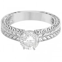 Vintage Carved Filigree Solitaire Engagement Ring in 14k White Gold