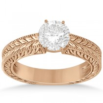 Vintage Carved Filigree Solitaire Engagement Ring in 18k Rose Gold