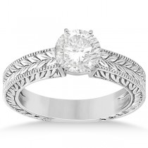 Vintage Carved Filigree Solitaire Engagement Ring in Platinum