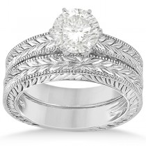 Vintage Carved Filigree Solitaire Bridal Set in 14k White Gold