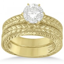 Vintage Carved Filigree Solitaire Bridal Set in 14k Yellow Gold