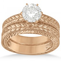Vintage Carved Filigree Solitaire Bridal Set in 18k Rose Gold