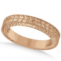 Vintage Carved Filigree Leaf Design Wedding Band in 14k Rose Gold