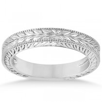 Vintage Carved Filigree Leaf Design Wedding Band in 14k White Gold