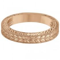 Vintage Carved Filigree Leaf Design Wedding Band in 18k Rose Gold