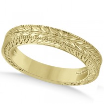Vintage Carved Filigree Leaf Design Wedding Band in 18k Yellow Gold