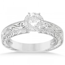 Filigree Designed Solitaire Engagement Ring Setting 14K White Gold