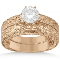 Classic Filigree Designed Solitaire Bridal Set 18K Rose Gold