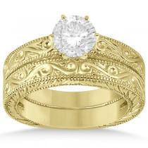 Classic Filigree Designed Solitaire Bridal Set 18K Yellow Gold