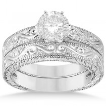 Classic Filigree Designed Solitaire Bridal Set in Palladium