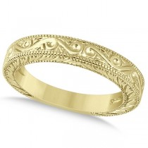 Women's Unique Filigree Wedding Band w/ Milgrain Edge 14k Yellow Gold