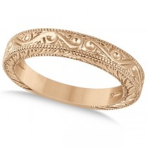 Women's Unique Filigree Wedding Band w/ Milgrain Edge 18k Rose Gold