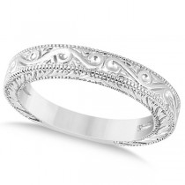 Women's Unique Filigree Wedding Band w/ Milgrain Edge in Platinum