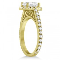 Eternity Pave Halo Diamond Engagement Ring 14K Yellow Gold (0.72ct)