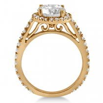 Eternity Pave Halo Diamond Engagement Ring 18K Rose Gold (0.72ct)