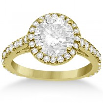 Eternity Pave Halo Diamond Engagement Ring 18K Yellow Gold (0.72ct)
