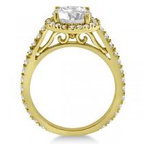 Eternity Pave Halo Diamond Engagement Ring 18K Yellow Gold (0.72ct)