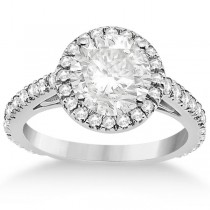 Eternity Pave Halo Diamond Engagement Ring Setting Palladium (0.72ct)