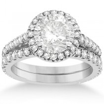 Diamond Bridal Halo Engagement Ring & Eternity Band 18K White Gold (1.30ct)