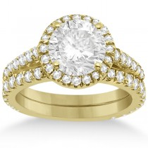 Diamond Bridal Halo Engagement Ring & Wedding Band 18K Yellow Gold (1.30ct)