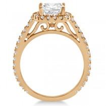 Cathedral Halo Cushion Cut Diamond Engagement Ring 18K Rose Gold (0.60ct)