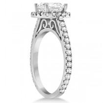 Cathedral Halo Cushion Diamond Engagement Ring Platinum (0.60ct)