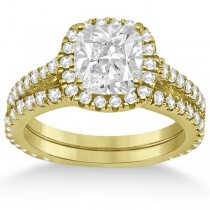 Halo Cushion Diamond Engagement Ring Bridal Set 14k Yellow Gold (1.07ct)