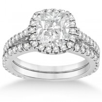 Halo Cushion Diamond Engagement Ring Bridal Set 18k White Gold (1.07ct)